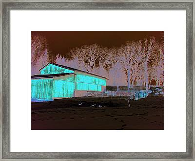 Century Farm Shed In Snow Watercolor Framed Print by Laurie With