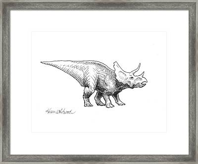 Framed Print featuring the drawing Cera The Triceratops - Dinosaur Ink Drawing by Karen Whitworth
