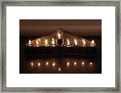 Ceramic Chanukkiah Lit With Eight Lights And One Lighter, The Shamash Framed Print by Yoel Koskas