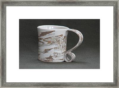 Ceramic Marbled Clay Cup Framed Print by Suzanne Gaff