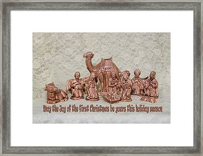 Ceramic Nativity Scene Framed Print by Linda Phelps