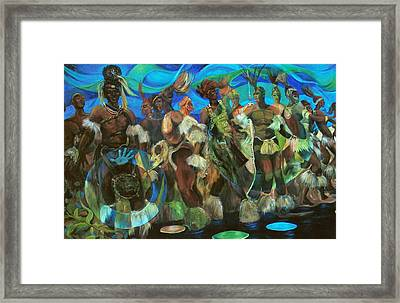 Ceremonial Dance Of The Mighty Zulus Framed Print by Lee Ransaw