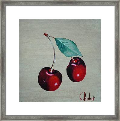 Cerises Framed Print by Veronique Chabot
