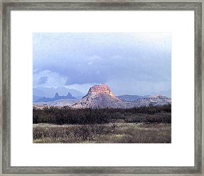 Framed Print featuring the painting Cerro Castellan And Mule Ears  by Dennis Ciscel