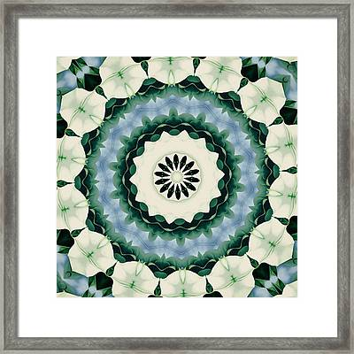 Cerulean Blue And Sacramento Green Mandala Framed Print