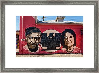 Cesar Chavez And Dolores Huerta Mural - Utah Framed Print by Gary Whitton