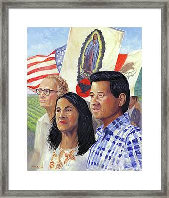 Cesar Chavez And La Causa Framed Print by Steve Simon