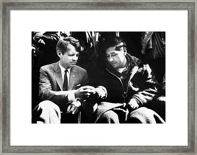 Cesar Chavez Ends His Hunger Strike Framed Print by Everett