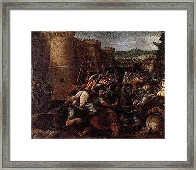 Cesari Giuseppe St Clare With The Scene Of The Siege Of Assisi Framed Print by Giuseppe Cesari