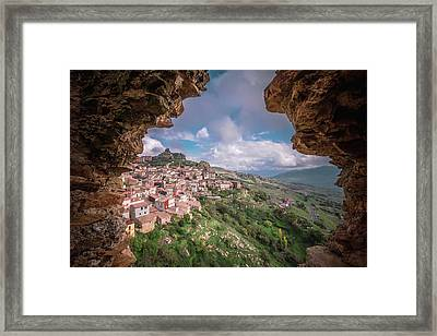 Cesaro' Town Through Cave Framed Print