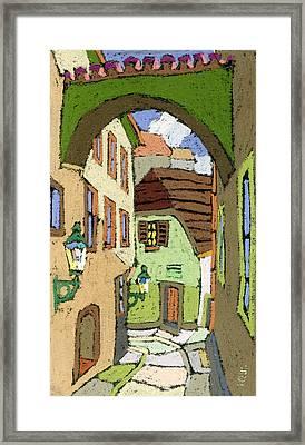 Cesky Krumlov Masna Street Framed Print by Yuriy  Shevchuk