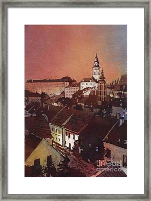 Cesky Krumlov Sunset Framed Print by Ryan Fox