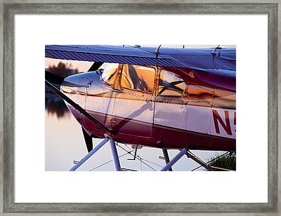 Cessna 180 At Sunset Framed Print by Tim Grams