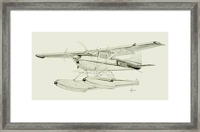 Cessna 180h On Floats Framed Print by Nicholas Linehan