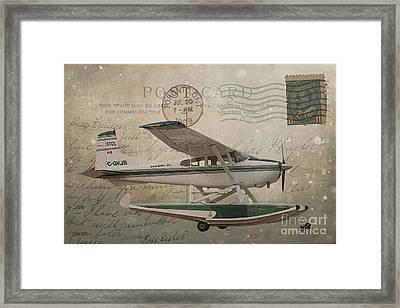 Cessna Skywagon 185 On Vintage Postcard Framed Print