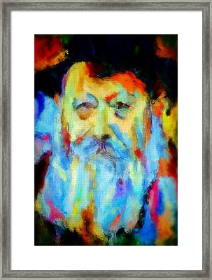 Chabad Lubavitch Rebbe Colorful Bright Acrylic Painting Menachem Schneerson Rabbi Crown Heights Rainbow Framed Print