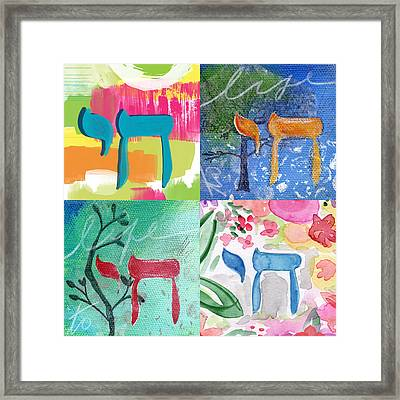 Chai Collage- Contemporary Jewish Art By Linda Woods Framed Print by Linda Woods