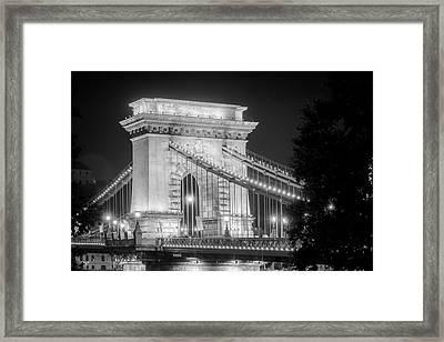 Chain Bridge Tower Night Bw Framed Print by Joan Carroll