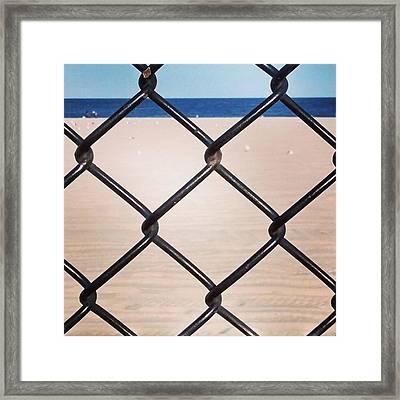 Chain Fence At The Beach Framed Print