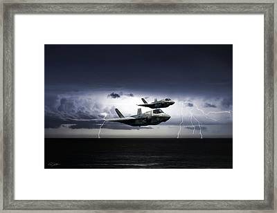 Framed Print featuring the digital art Chain Lightning by Peter Chilelli