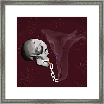 Chain Smoker Skull  Framed Print
