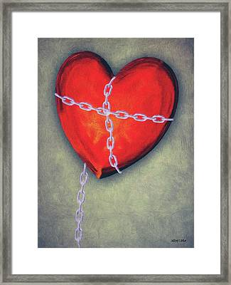 Chains Framed Print featuring the painting Chained Heart by Jeff Kolker