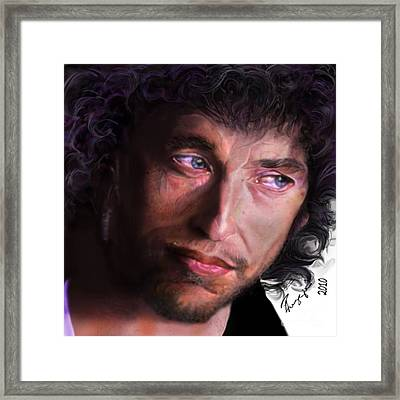 Chained To The Sky -  Bob Dylan  Framed Print by Reggie Duffie