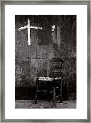 Chair And Cross Chania Crete Framed Print by Werner Hammerstingl