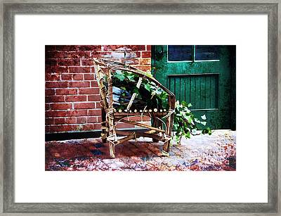 Chair And Ivy Framed Print by Elaine Manley