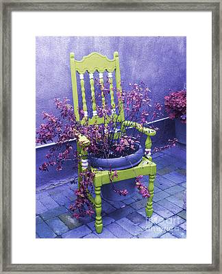 Chair In Chartreuse		 Framed Print by Ann Johndro-Collins