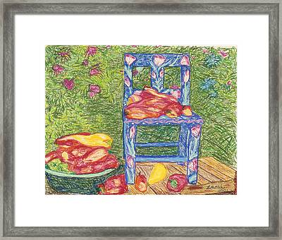 Blue Chair With Peppers Framed Print