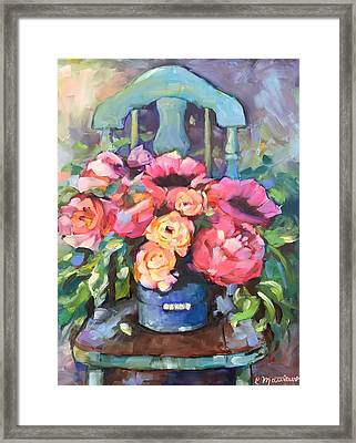 Chair With Flowers Framed Print