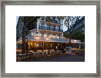 Chairs And Tables In A Restaurant Framed Print by Panoramic Images