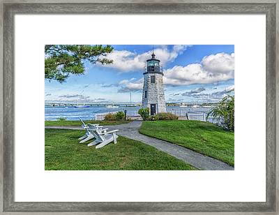 Chairs At Newport Harbor Lighthouse Framed Print