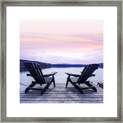 Chairs On Lake Dock Framed Print by Elena Elisseeva