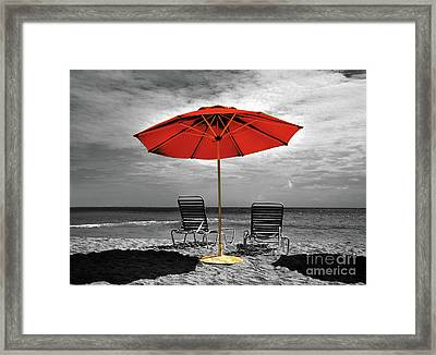 Chaise Lounge For Two Framed Print by Arnie Goldstein