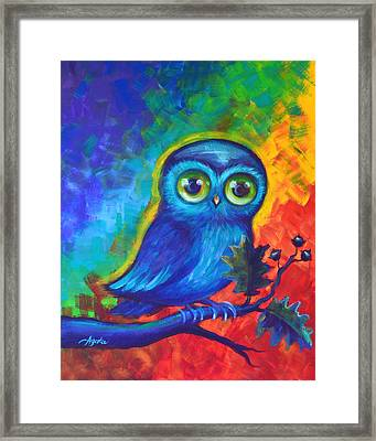 Framed Print featuring the painting Chakra Abstract With Owl by Agata Lindquist
