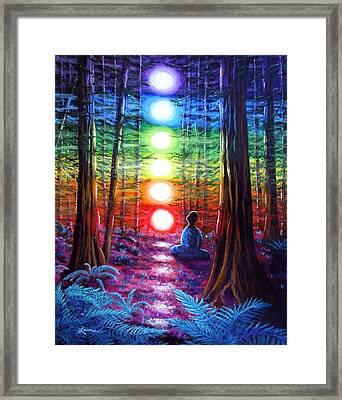 Chakra Meditation In The Redwoods Framed Print by Laura Iverson