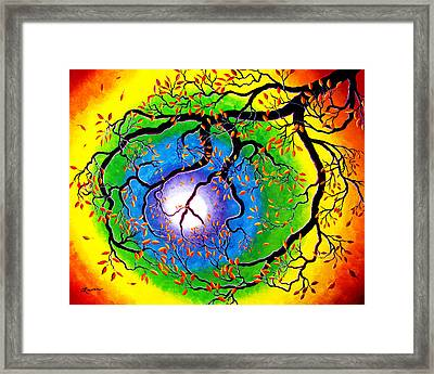 Chakra Peace Tree Meditation Framed Print by Laura Iverson