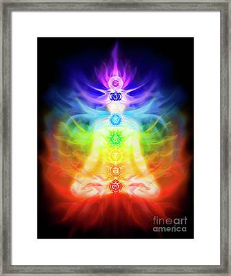 Chakras And Energy Flow On Human Body Framed Print by Awen Fine Art Prints