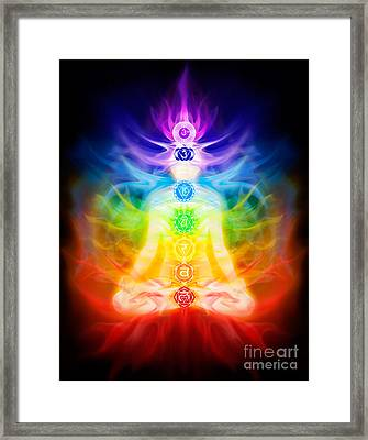 Chakras And Energy Flow On Human Body Framed Print
