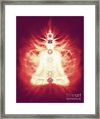 Chakras Symbols And Energy Flow On Human Body Framed Print