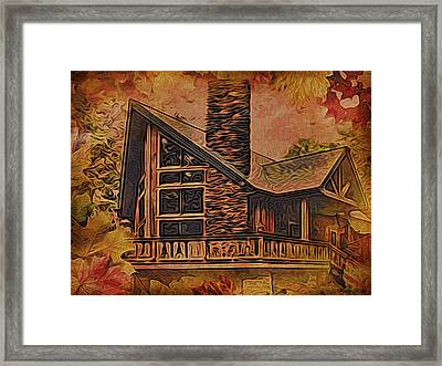 Framed Print featuring the digital art Chalet In Autumn by Kathy Kelly