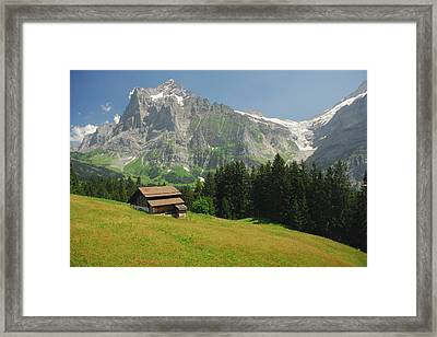 Chalet In Mountain Pasture With Mount Framed Print