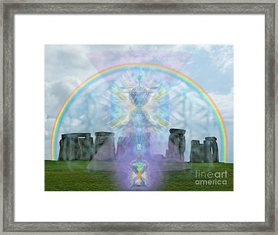 Chalice Over Stonehenge In Flower Of Life And Man Framed Print