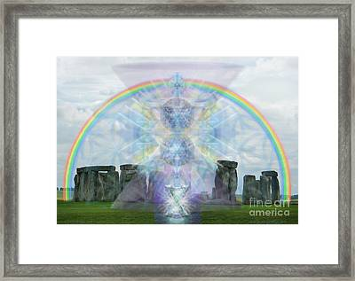 Chalice Over Stonehenge In Flower Of Life Framed Print