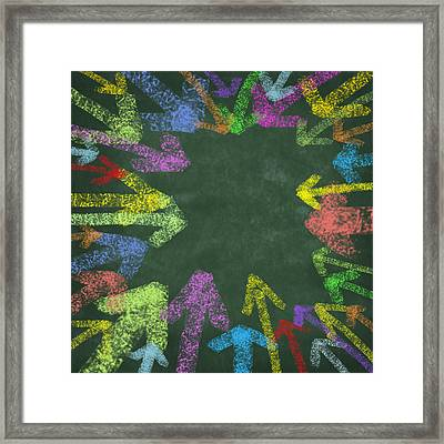 Chalk Drawing Colorful Arrows Framed Print