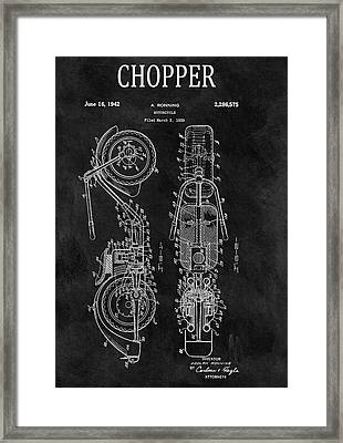 Chalkboard Chopper Motorcycle Patent Framed Print by Dan Sproul