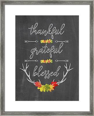 Framed Print featuring the digital art Chalkboard Handwriting Thankful Grateful Blessed Fall Thanksgiving by Georgeta Blanaru