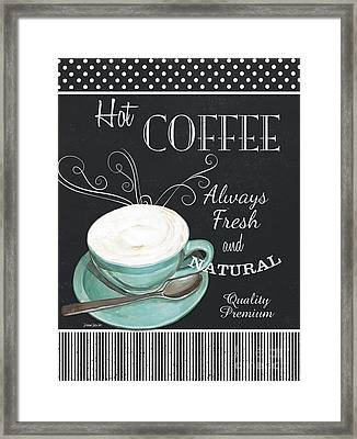Framed Print featuring the painting Chalkboard Retro Coffee Shop 1 by Debbie DeWitt